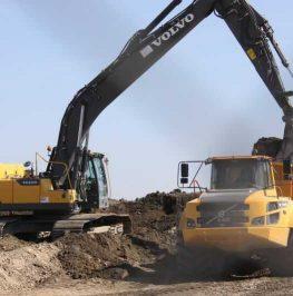 Grävmaskin lastar schaktmassor på en dumper