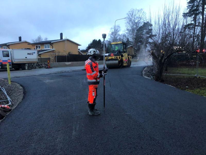 Utsättning för asfalteringsarbete